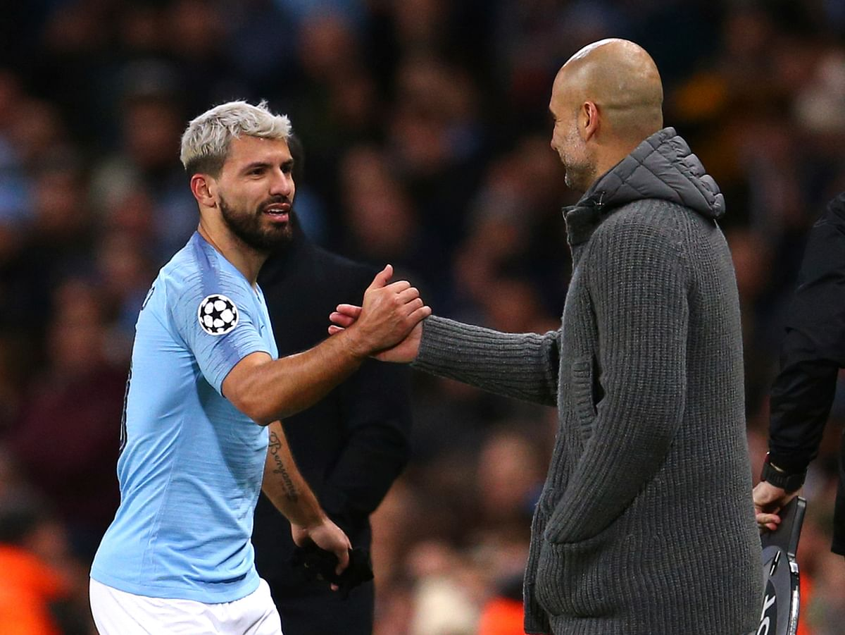 Sergio Aguero chipped home a 35th-minute penalty to make it 1-0 in the second leg at Etihad Stadium.