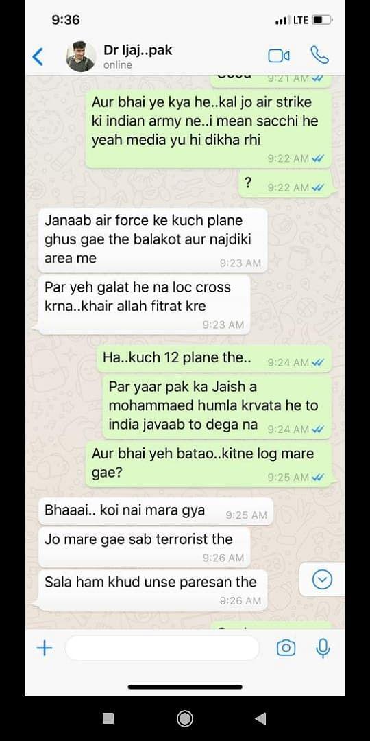 Screenshot of the purported WhatsApp chat.