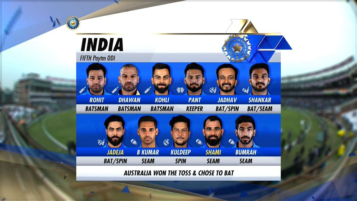 India's playing XI for the series-deciding fifth ODI against Australia at New Delhi.