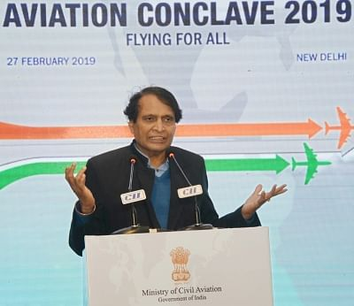 New Delhi: Union Commerce and Industry and Civil Aviation Minister Suresh Prabhu addresses at the Aviation Conclave 2019, in New Delhi, on Feb 27, 2019. (Photo: IANS/PIB)