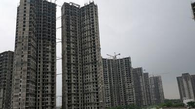 Under-construction buildings.
