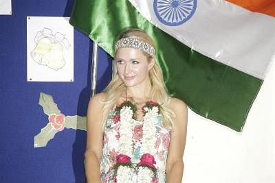 Socialite Paris Hilton visits Ashray NGO an orphanage Committed Communities Development Trust (CCDT) in Bandra, Mumbai. (Photo: IANS)