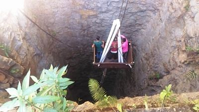 Ksan: Rescue operations being carried out to evacuate the 15 coal miners trapped inside a flooded coal pit at Ksan village in Meghalaya