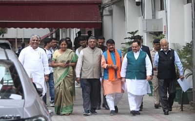 New Delhi: A BJP delegation comprising of Union Ministers Nirmala Sitharaman, Ravi Shankar Prasad and J.P. Nadda arrive after meeting the Chief Election Commissioner (CEC) in New Delhi, on March 13, 2019. Also seen BJP leaders Bhupender Yadav and Kailash Vijayvargiya. (Photo: IANS)