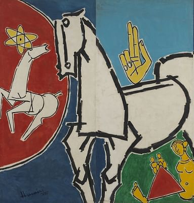 M.F. Husain. Lightning (detail), 1975; Oil on canvas. Twelve panels, overall: H. 3 m. x W. 18 m; Marguerite and Kent Charugundla Collection. (Photo Source: asiasociety.org)