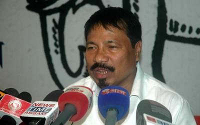 AGP leader Atul Bora addresses a press conference at party Headquarters in Guwahati, on Sept. 25, 2014. (Photo: IANS)
