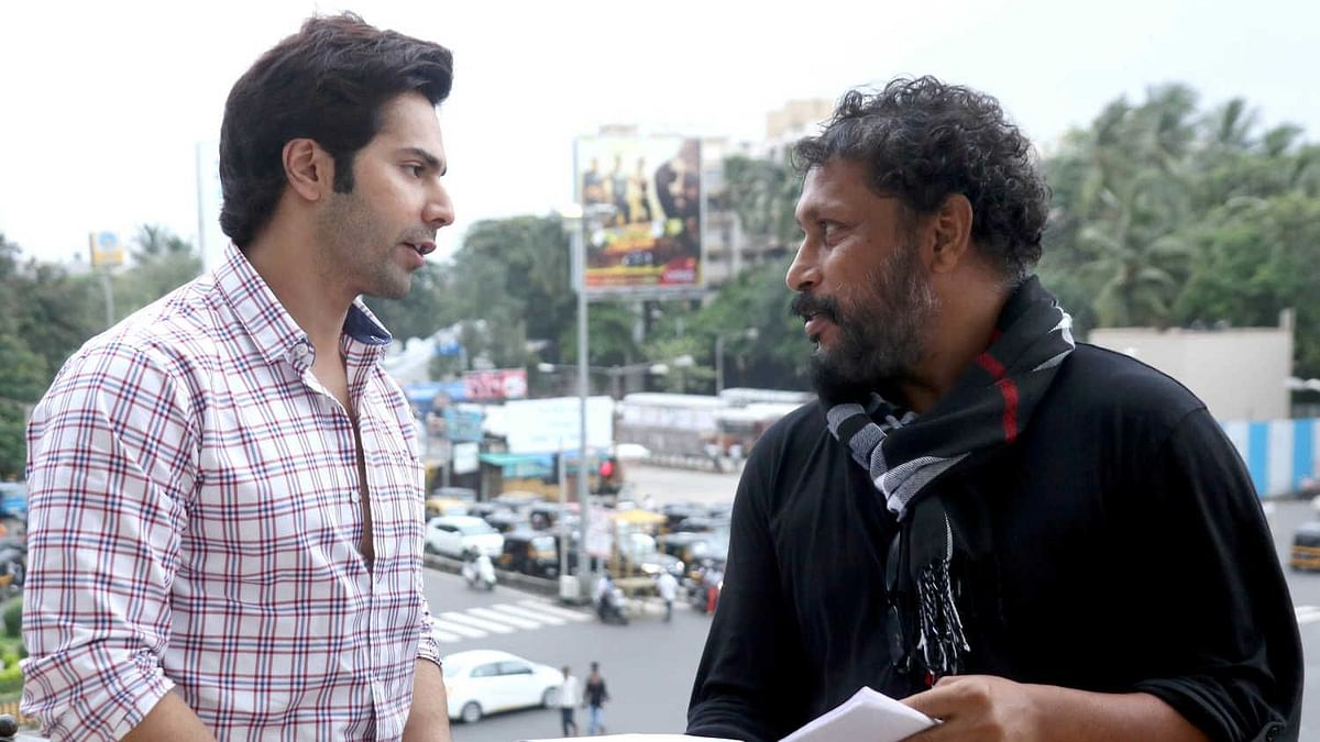 Varun Dhawan with Shoojit Sircar on the sets of <i>October.</i>