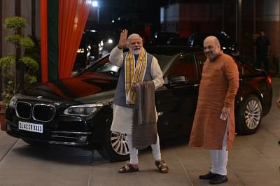 New Delhi: Prime Minister and BJP leader Narendra Modi and party chief Amit Shah arrive to attend the Central Election Committee meeting at party