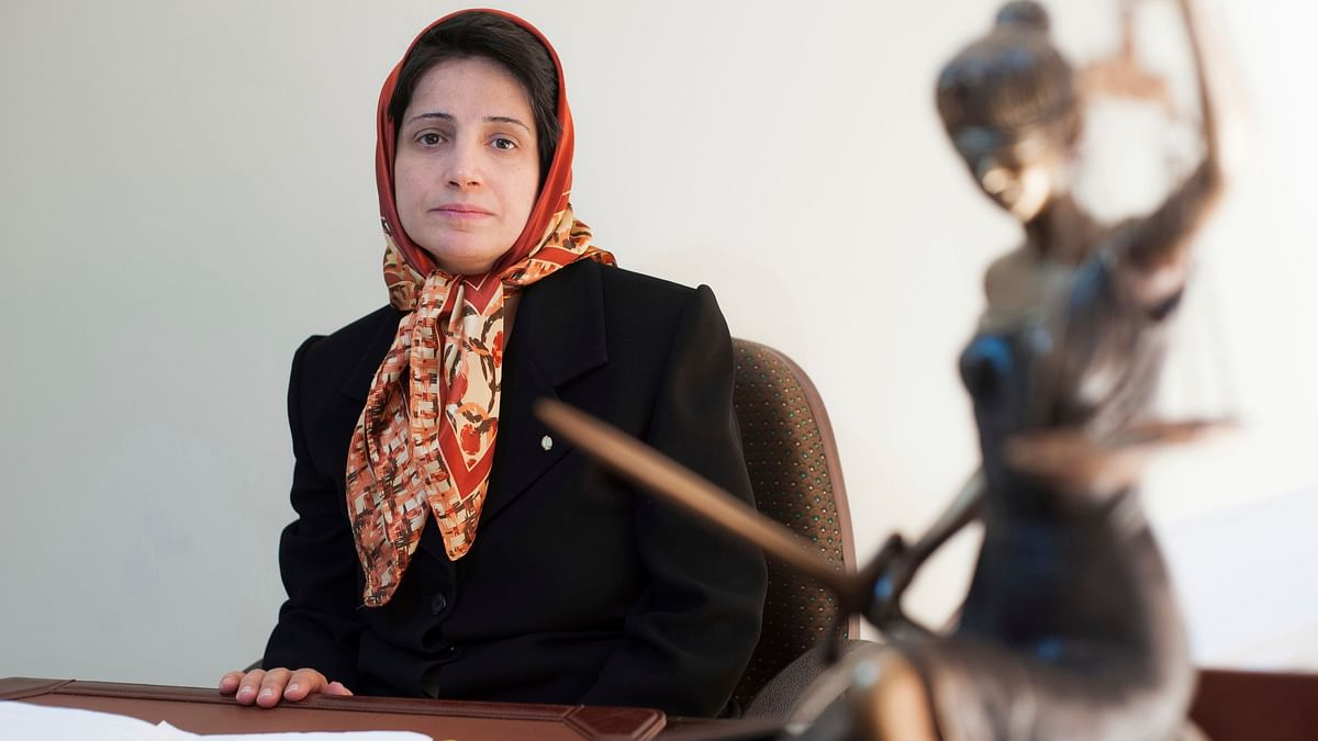 Iranian human rights lawyer Nasrin Sotoudeh poses for a photograph in her office in Tehran, Iran.