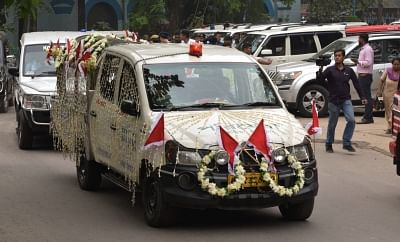 Kolkata: The hearse carrying mortal remains of Matua matriarch Binapani Devi, popular as