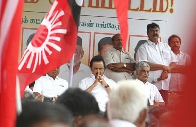 Chennai: Dravida Munnetra Kazhagam (DMK) president M. K. Stalin along with other opposition party leaders participate in a demonstration against the decision to exempt Tamil Nadu from the implementation of the National Eligibility cum Entrance Test (NEET) in Chennai on Aug 24, 2017. (Photo: IANS)