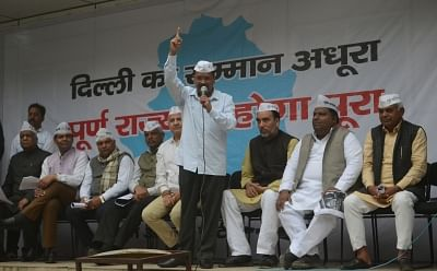 New Delhi: Delhi Chief Minister and Aam Aadmi Party (AAP) leader Arvind Kejriwal addresses during a protest in New Delhi, on March 13, 2019. Also seen Delhi Deputy Chief Minister and AAP leader Manish Sisodia. (Photo: IANS)