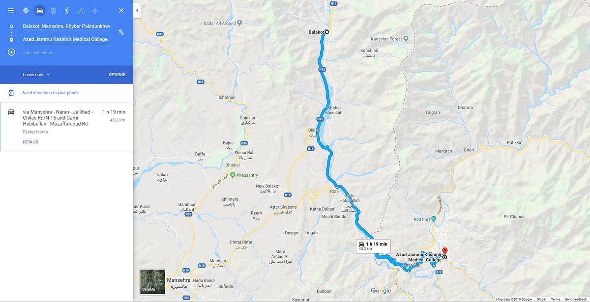 Google Map showing nearest medical college to Balakot