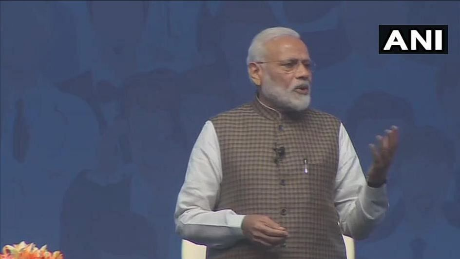 As part of the event, Modi is addressing a virtual video conference, through which he will interact with people from 500 destinations across India, digitally.