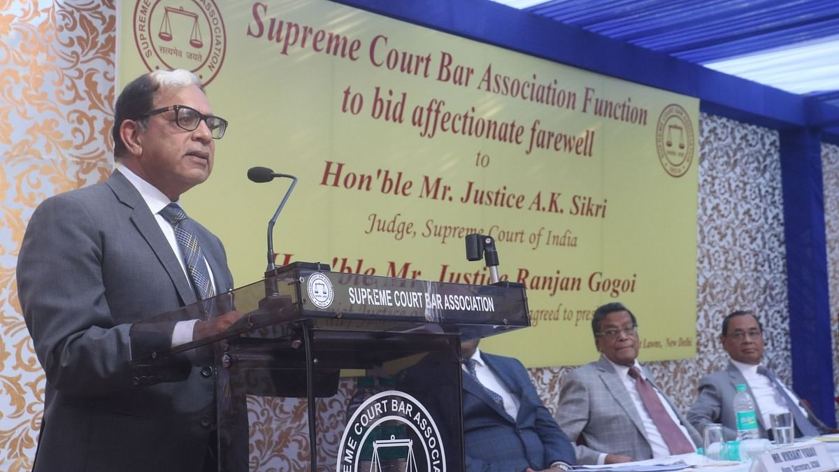 Justice AK Sikri at his farewell ceremony in Delhi on 6 March.