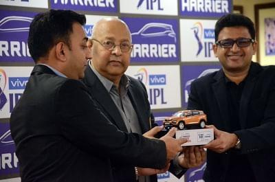 Mumbai: IPL COO Hemang Amin, BCCI Secretary Amitabh Choudhary and Tata Motors Head Marketing (Passenger Vehicles Business Unit) Vivek Srivatsa during a press conference at BCCI Centre in Mumbai on March 4, 2019. (Photo: IANS)