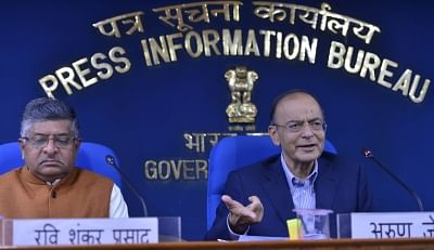 New Delhi: Union Finance and Corporate Affairs Minister Arun Jaitley along with Union Law and Justice Minister Ravi Shankar Prasad addresses a press conference in New Delhi, on March 7, 2019. (Photo: IANS)