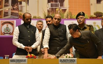 New Delhi: Union Home Minister Rajnath Singh at the inauguration and foundation stone laying ceremony of the various residential and office buildings of CAPFs, CPOs and Delhi Police, in New Delhi, on March 6, 2019. Also seen Union Ministers Hansraj Gangaram Ahir and Kiren Rijiju. (Photo: IANS)