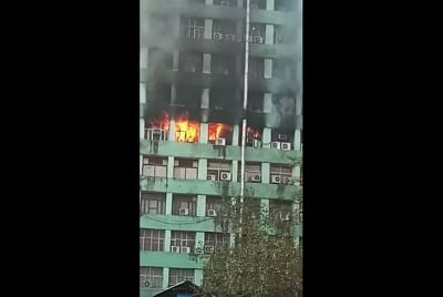 New Delhi: A fire that broke out on the fifth floor of the Pandit Deendayal Antyodaya Bhawan at the CGO complex, in New Delhi, on March 6, 2019. The blaze was first noticed at around 8.30 a.m., several fire tenders were rushed to the spot. (Photo: IANS)