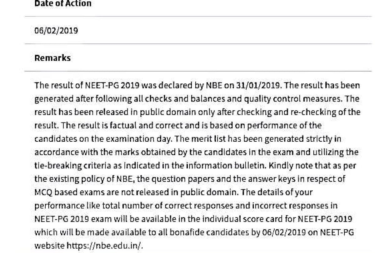 Screenshot of response given by the National Board of Examination in response to an RTI application.