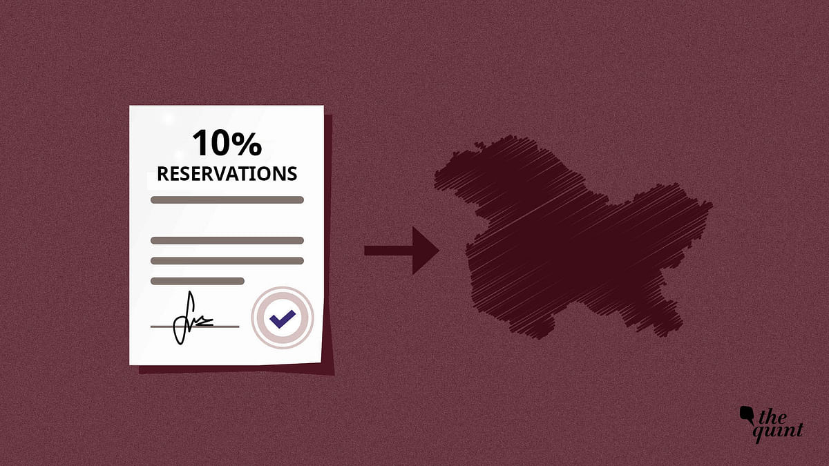 The 10% reservation policy can now be applied in Jammu & Kashmir.