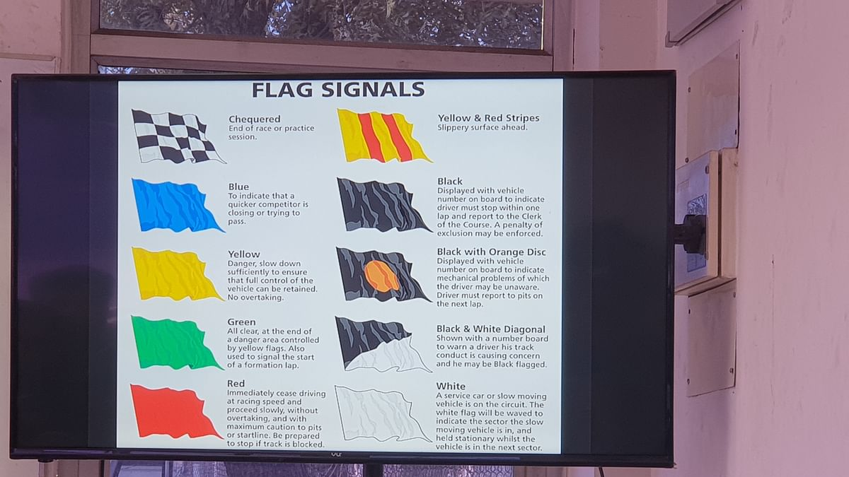 Different flags used on the race track to alert riders.