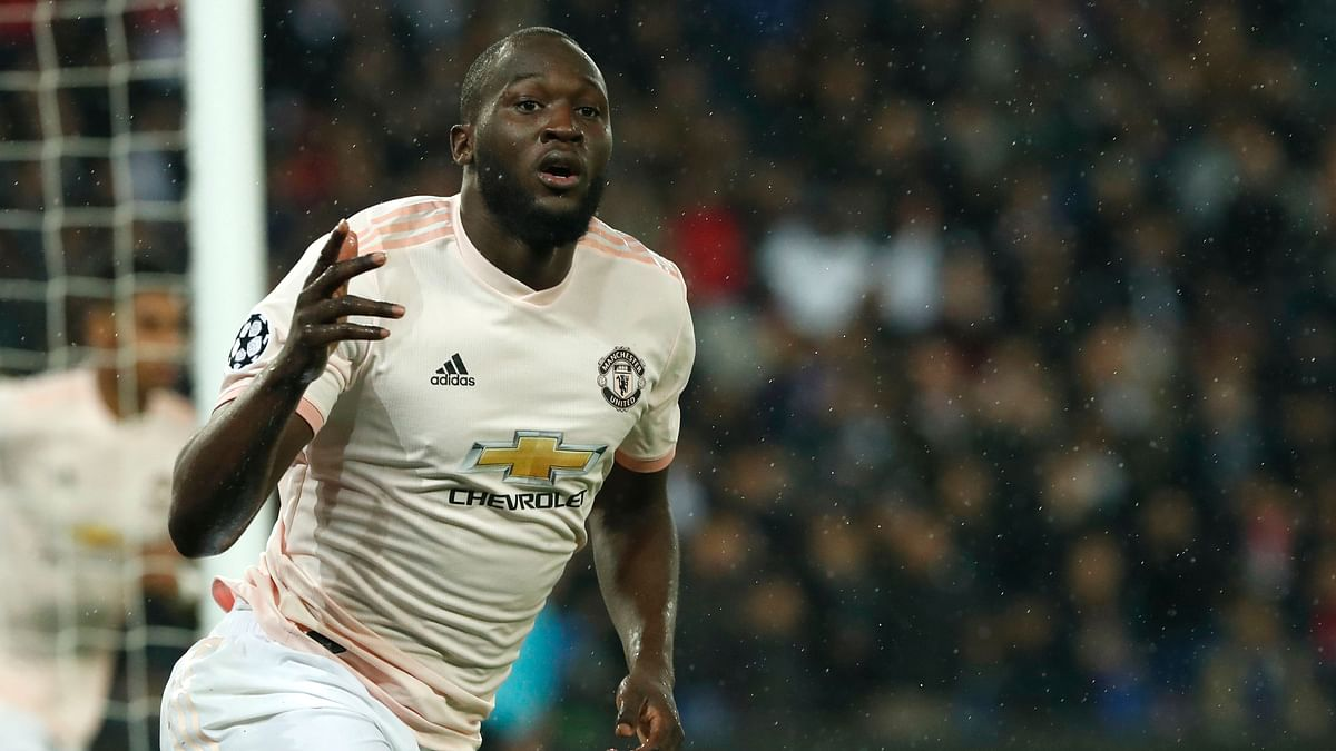 Manchester United's Romelu Lukaku celebrates after scoring his side's opening goal during the Champions League round of 16, second leg,match against Paris Saint Germain in Paris on Wednesday, March. 6.