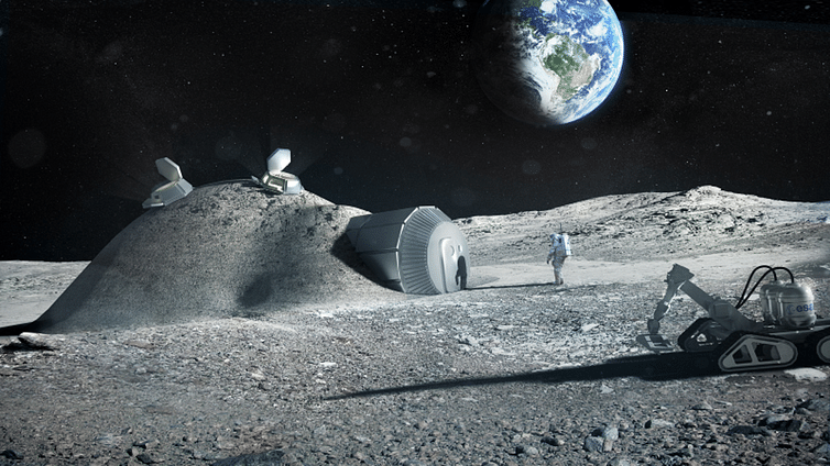 A rendering of a possible lunar habitat, featuring elements printed in 3D with lunar soil. <br>