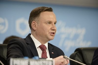 KATOWICE, Dec. 3, 2018 (Xinhua) -- Polish President Andrzej Duda addresses the UN Climate Change Conference in Katowice, Poland, Dec. 3, 2018. Delegates from nearly 200 countries began talks on Sunday on urgent actions to curb climate change three years after the landmark Paris Climate Change Agreement set a goal of keeping global warming below 2 degrees Celsius. The two-week UN Climate Change Conference, known as COP24, is held in the southern Polish city of Katowice. (Xinhua/Jaap Arriens/IANS)