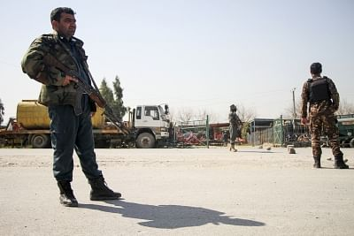 NANGARHAR, March 6, 2019 (Xinhua) -- Afghan security force members stand guard near the site of an attack in Nangarhar province, Afghanistan, March 6, 2019. A total of 21 people including five attackers were killed and nine others injured as a blast followed by gun shots rocked Jalalabad city, the capital of eastern Nangarhar province on Wednesday, provincial government spokesman Attaullah Khogiani said. (Xinhua/Saifurahman Safi/IANS)