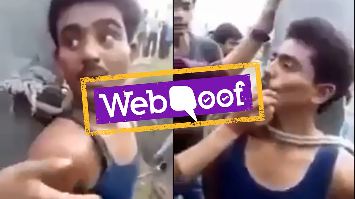 The caption shared along with a viral video claims that it shows a Hindu mob attempting to forcibly convert a Muslim youth.