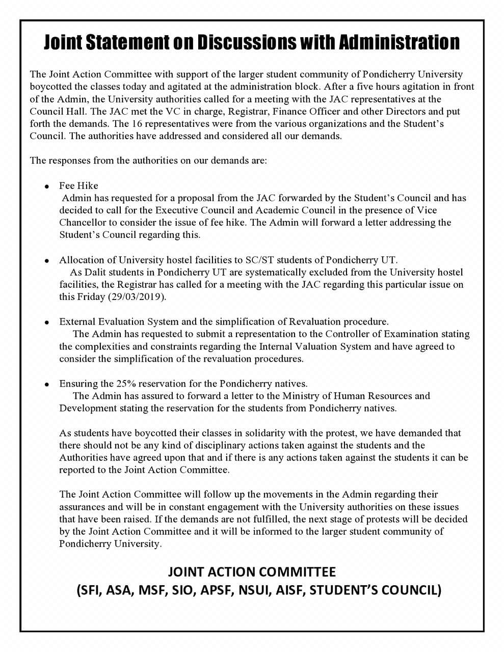 Demands put forth by the Joint Action Committee.