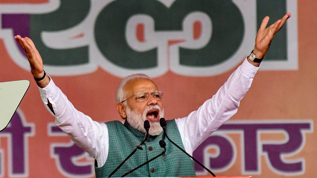 Prime Minister Narendra Modi addresses his supporters during Sankalp Rally, at Gandhi Maidan in Patna, on Sunday, 3 March.