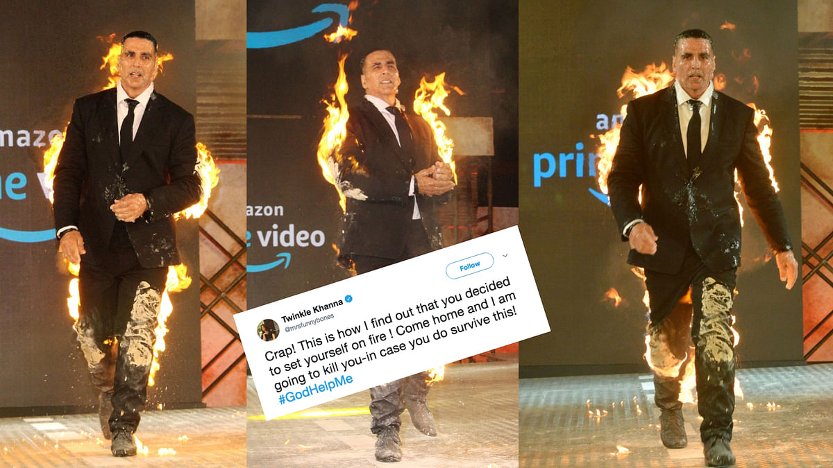 Akshay Kumar 'fire stunt' at the announcement of an Amazon Prime Video project.