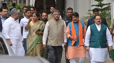 New Delhi: A BJP delegation comprising of Union Ministers Nirmala Sitharaman, Ravi Shankar Prasad and J.P. Nadda come out after meeting the Chief Election Commissioner (CEC) in New Delhi, on March 13, 2019. Also seen BJP leaders Bhupender Yadav and Kailash Vijayvargiya. (Photo: IANS)
