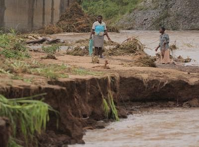 CHIMANIMANI (ZIMBABWE), March 17, 2019 (Xinhua) -- Farmers check their crop after the area was hit by cyclone Idai in Chimanimani, Manicaland Province, Zimbabwe, March 17, 2019. At least 31 people have been confirmed dead while dozens of others are still missing as tropical cyclone Idai wreaks havoc in southeastern Zimbabwe, the government said Saturday evening. (Xinhua/Shaun Jusa/IANS)