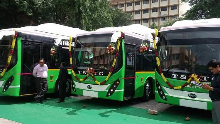 Telangana State Road Transport Corporation inaugurated its first fleet of 40 electric buses in the city on Tuesday.