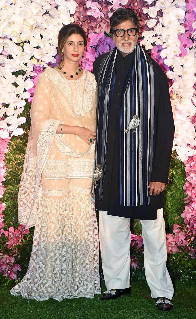 Shweta Bachchan-Nanda with Amitabh Bachchan.