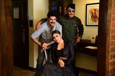 "Mumbai: Actors Jackie Shroff, Mouni Roy and Sikandar Kher at the promotion of their upcoming film ""Romeo Akbar Walter (RAW)"" in Mumbai, on March 18, 2019. (Photo: IANS)"