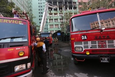 New Delhi: Fire engines parked outside Pandit Deendayal Antyodaya Bhawan, formerly known as Paryavaran Bhawan where a fire broke out killing a CISF trooper and gutting important government documents, at the CGO Complex, in New Delhi, on March 6, 2019. The fire damaged many rooms of the Disability Division of the Ministry of Social Justice and Empowerment.