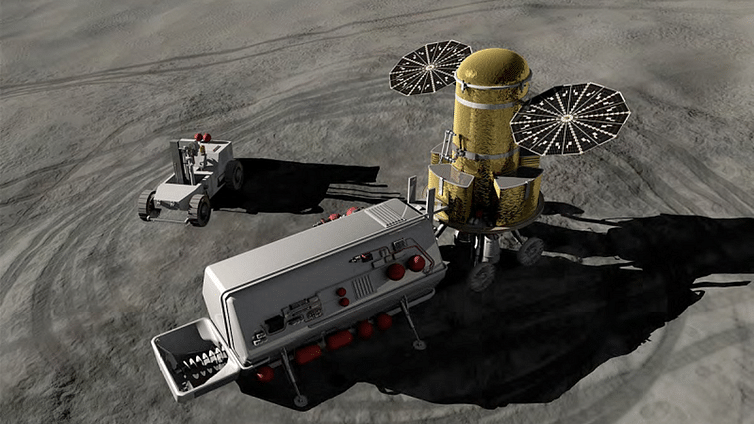 Artist's impression of what lunar in-situ resource utilisation might look like.