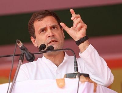 Itanagar: Congress President Rahul Gandhi addresses at a public meeting in Itanagar, on March 19, 2019. (Photo: IANS/AICC)