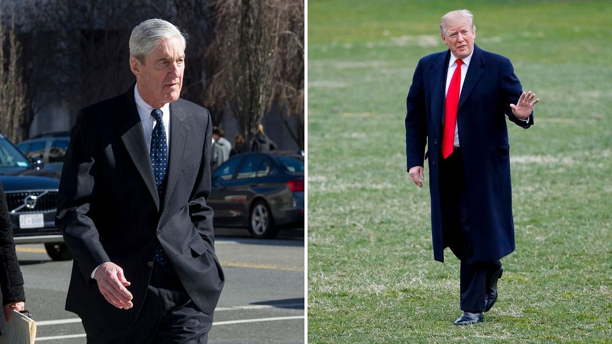 Special Counsel Robert Mueller and US President Donald Trump. The results of Mueller's investigation found no collusion between Trump and Russia for the 2016 election.