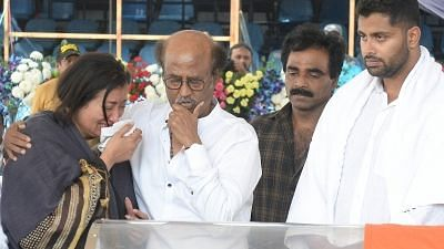 Actor-turned-politician Rajinikanth consoles Sumalatha, widow of veteran Kannada actor MH Ambareesh, who died at a private hospital in Bengaluru on 25 November 2018.