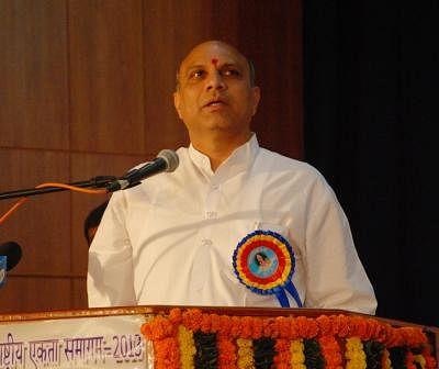 Union Human Resource Development Minister M M Pallam Raju addresses during the inauguration of National Integration Meet-2013 of Navodaya Vidyalaya Samiti in Hyderabad on Nov.22, 2013. (Photo: IANS)
