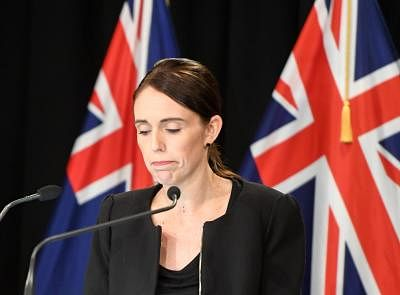 WELLINGTON, March 16, 2019 (Xinhua) -- New Zealand Prime Minister Jacinda Ardern reacts during a briefing in Wellington, capital of New Zealand, on March 16, 2019. Jacinda Ardern reiterated to the public on Saturday morning that the country