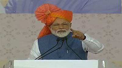 Vastral: Prime Minister Narendra Modi addresses at the inauguration of various development projects in Vastral, Gujarat, on March 5, 2019. (Photo: IANS/BJP)