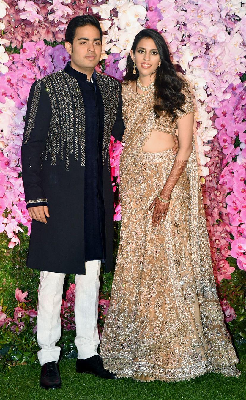 Akash Ambani and Shloka Mehta, the groom and bride at their post-wedding celebration.