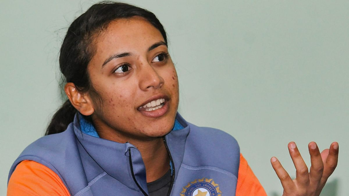 Captain Smriti Mandhana addresses a news conference in Guwahati ahead of India's T20I series against England.