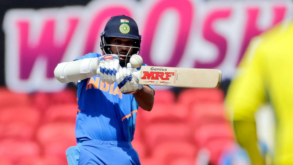 Shikhar Dhawan bats during the second one-day international match between India and Australia in Nagpur on March 5.